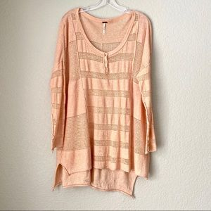 FREE PEOPLE Thin Knit Oversized Peach Sweater (S)